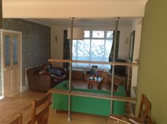 Scaffold interior room divider. Scaffolding, Room Interior, Ethereal, Bunk Beds, Pewter, Sticks, Recycling, Divider, Copper