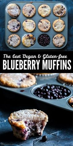 These Best Ever Vegan Blueberry Muffins have it all! Sweet juicy blueberries, a sparkling sugar topThese Best Ever Vegan Blueberry Muffins have it all! Sweet juicy blueberries, a sparkling sugar topping, and the most delicious tender crumb! Vegan Dessert Recipes, Gf Recipes, Vegan Sweets, Healthy Desserts, Gourmet Recipes, Vegan Gluten Free Desserts, Best Vegan Snacks, Celiac Recipes, Vegan Lunches