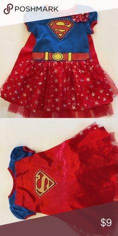 Super girl dress with cape Super adorable Super Girl dress with cape. Shows a little wear but still much life left. My daughter absolutely loved wearing it! Dresses Casual