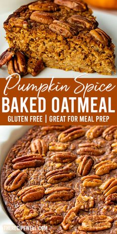 Pumpkin Spice Baked Oatmeal has all the flavours of pumpkin pie, but in breakfast form! This baked oatmeal is the perfect autumn breakfast. Single Serve Desserts, Desserts For A Crowd, Party Desserts, Delicious Desserts, Yummy Food, Oatmeal Recipes, Pumpkin Recipes, Fall Recipes, Hot Fudge Cake