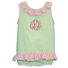 Monogrammed Lime and Hot Pink Seersucker Ruffled Bubble Suit