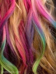 blonde and rainbow colored hair girly hair cool colorful hair blonde hair bright hair