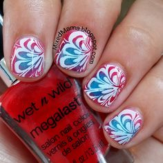 MixedMama: Patriotic Red, White and Blue Nails Featuring Lady Queen's Stamping Plate Hehe040