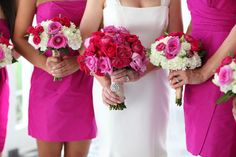 . Hot Pink Weddings, Bridesmaid Dresses, Wedding Dresses, Special Events, Flower Arrangements, Flowers, Blog, Fashion, Moda