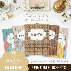 Binder cover printable: TRIBAL WOOD 5x set by StrawberryScraps