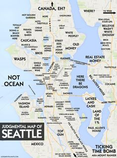 Maps That Show Each City By Stereotype Seattle Pacific - City map of washington state
