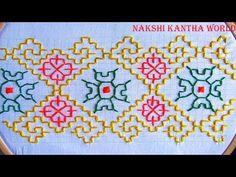 Hand embroidery border line design by Nakshi Kantha World Kasuti Embroidery, Swedish Embroidery, Name Embroidery, Embroidery Neck Designs, Hand Embroidery Videos, Embroidery Stitches Tutorial, Sewing Stitches, Hand Embroidery Patterns, Cross Stitch Designs