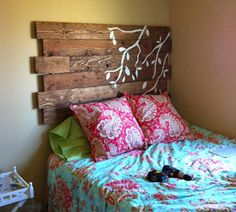 Create a rustic headboard with wooden planks & tree branch wall decals. http://bit.ly/1MwbFgo #WeekendProject #DIY