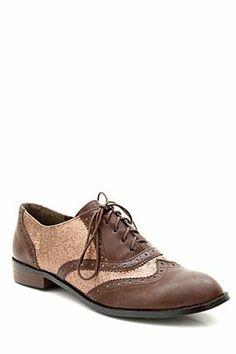 Brown copper glitter oxford. LOVE it!