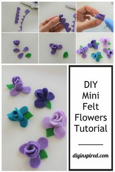 DIY No Sew Felt Flowers - Use it on different materials like fabric, paper, or plastic. Use them on hats, purses, headbands and barrettes and other accessories.  You can even use them on clothing, pillows, wreaths, or embellish a gift bag or box with them.