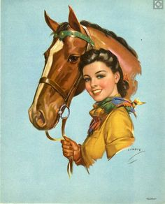 This reminds me of an old Chesterfield cigarette ad. Vintage Pictures, Vintage Images, Vintage Posters, Vintage Artwork, Cowgirl And Horse, Cowboy Art, Vintage Cowgirl, Vintage Horse, Pin Ups Vintage