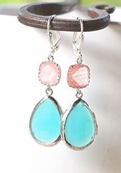 Turquoise and Grapefruit Pink Bridesmaids Earrings.