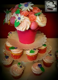 Cupcake and cake pop bouquet by care 4 cakes