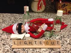 Elf on the shelf- funny- Buddy Mac tied one on last night...