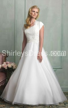 Sophisticated Cap-sleeved Lace-bodiced Belted and Beaded Organza Wedding Ball Gown