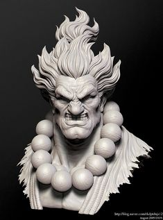 Akuma by se won kang on ArtStation. Zbrush Character, 3d Character, Character Design, Statues, Comic Face, Sculpture Head, Maya, Digital Sculpting, Modelos 3d