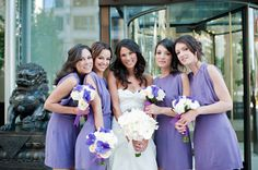 Lovely ladies in lavender ~ We see so much lavender and purple coming through our doors. What is it about this color that makes it such a favorite? Photography by vasia-weddings.com