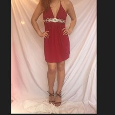 Red dress from a boutique Red dress with diamond design Dresses Midi