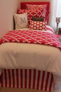 hot pink dorm bedding with silver metallic accents beautiful dorm room #designerdorm hot dorm room bedding  www.decor-2-ur-door.com