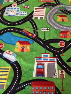 Check out this car play mat my mother-in-law made! Would be awesome for any little boys you know! Play Mat / Blanket / Auto Play Mat / Toddler by PickledPearTree