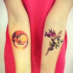 gorgeous plant red fox watercolor tattoo on forearm - leaf tattoo