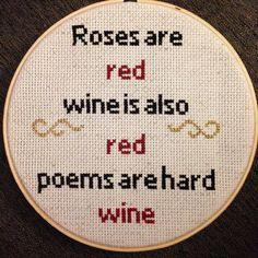 Wine Cross Stitch by ReywasEmporium on Etsy