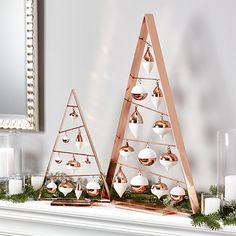 """A-Frame Copper Ornament Trees 16"""" and 26"""""""