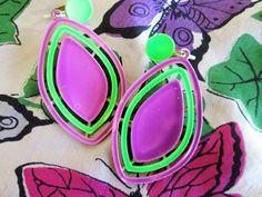 J.J. Dangle Earrings Purple Lime Green Enamel Clip On Vintage
