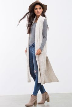 [loving this whole look, but ESPECIALLY the long, sleeveless cardigan] Harper Long Line Sweater Vest Long Vest Outfit, Sweater Vest Outfit, Long Sweater Vest, Fall Cardigan, Sleeveless Cardigan, Long Sweaters, Long Sweater Outfits, Gray Sweater, Cream Cardigan Outfit