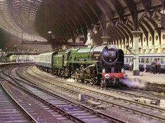 Evening Star at York Station Steam Trains Uk, Old Steam Train, Train Art, By Train, Uk Rail, Steam Art, Diesel, Steam Railway, Old Trains