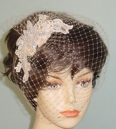 Champagne Birdcage Veil with Lace and Rhinestone by AnnLeslie, $98.00