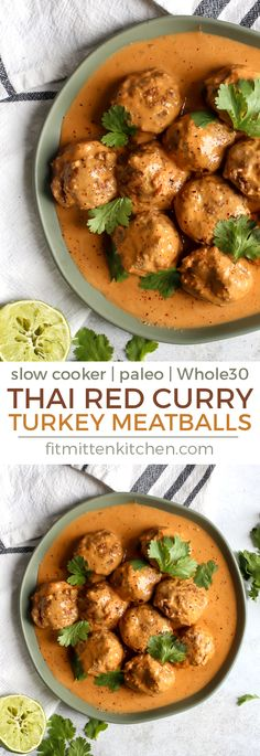 Slow cookers make for the best meals! These Paleo Thai Red Curry Turkey Meatballs are a must. Serve with zoodles, cauli rice or your favorite grain for a delicious meal. Recipe for meatballs is paleo and whole30! #paleo #whole30meals #slowcooker #mealprep