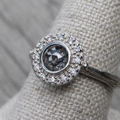 Rose Cut Grey Diamond Halo Twig Engagement Ring from Kristin Coffin Jewelry. www.kristincoffin.com