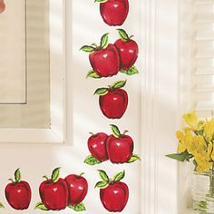 Apple Decals are a quick and easy way to brighten your surroundings—just stick them on any glass, wood, metal or painted surface And theyre easily removable, too. Set includes 30 decals, from to h. Available only in red. Apple Kitchen Decor, Chef Kitchen Decor, Kitchen Decor Themes, Red Kitchen, Kitchen Goods, Candy Apple Red, Red Apple, Apple Decorations, Kitchens