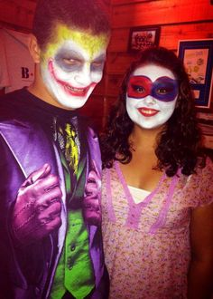 """The Joker & Harley Quinn - Professional Face Painting!  Visit www.facebook.com/facepaintdesigns or artmeohio.wix.com/artme to book your event today!  """"Art, me!"""" Professional Face Paint Art & more! - Kirstene Adkins Professional Face Paint, Joker And Harley Quinn, Carnival, Halloween Face Makeup, Facebook, Painting, Art, Art Background, Carnavals"""