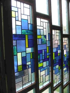 Stained glass panels blue