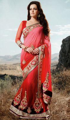 Dazzling Diva Embroidered Georgette Lehenga Saree #wedding-bridal-lehengasaris