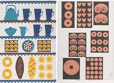 Produced by Farmer's Market, the linen and cotton towels feature mid-century Scandinavian designs, the two above designed by Louise Fougstedt and Marianne Nilsson in the Scandinavian Fabric, Scandinavian Design, Cotton Towels, Tea Towels, Blue Morning Glory, Paint Cookies, Kitchen Art, Vintage Prints, Screen Printing