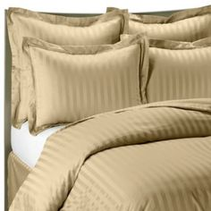 Wamsutta® 500 Damask Stripe Duvet Cover Set in Wheat - BedBathandBeyond.com $89