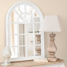 [product_name] from Maisons du Monde. Large Round Mirror, White Mirror, Shop Interiors, Decoration, Interior Styling, Home Projects, Living Room Designs, Home Furniture, Sweet Home