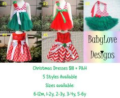 Pre-Order Christmas Dresses $18 + P&H  5 Styles available, Sizes from 6m - 6y  *Please Note - We will be closed last 2 weeks of October so all orders will need to be in by then.*Lay-By Available*ETA November*