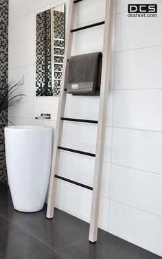 DCS Wooden Ladder, Heated towel rail. www.dcshort.com