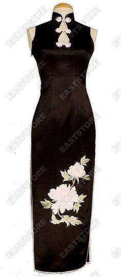 black qipao with interesting collar
