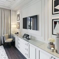 Top 70 Best TV Wall Ideas - Living Room Television Designs - Ornate Home White Painted Tv Wall Interior Ideas - Living Room Cabinets, Rugs In Living Room, Living Room Furniture, Living Room Designs, Living Room Decor, Tv Cabinets, Decor Room, Bedroom Wall Cabinets, Bedroom Decor