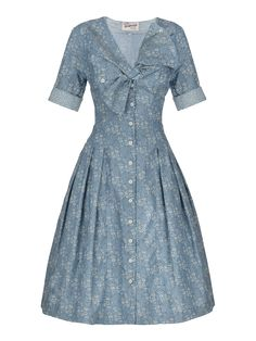 Lena Hoschek - Market Dress in denim with subtle floral pattern - Spring Summer 2014