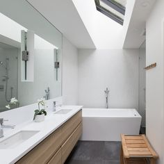 double vanity, square tub