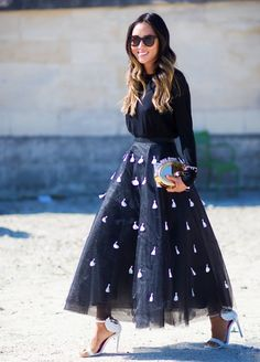 Aimee Song in an embellished full skirt and statement white heels #ranitasobanka #fashion #inspirations