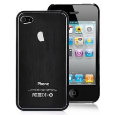 Plastic Edged Metal Back Cover Pattern Hard Case For iPhone 4S - Black
