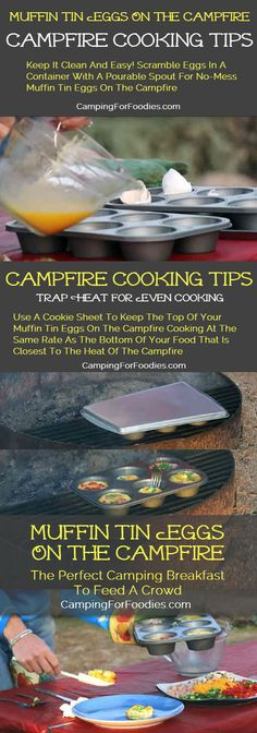 When your crowd can't agree on how to cook the eggs for breakfast, just tell them to make their own! Fun and Easy Muffin Tin Eggs on the Campfire Recipe! Find this recipe and a ton of campfire cooking tips! http://www.campingforfoodies.com/muffin-tin-eggs-campfire-recipe/