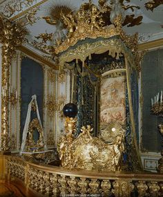"Dollmann,Georg von.Guest bedroom with four-poster bed in Herrenchiemsee palace, a residence built for Ludwig II of Bavaria, who admired France's Louis XIV and saw himself as another ""sun-king"". Construction of Herrenchiemsee began after Ludwig's visit to Versailles in 1867."